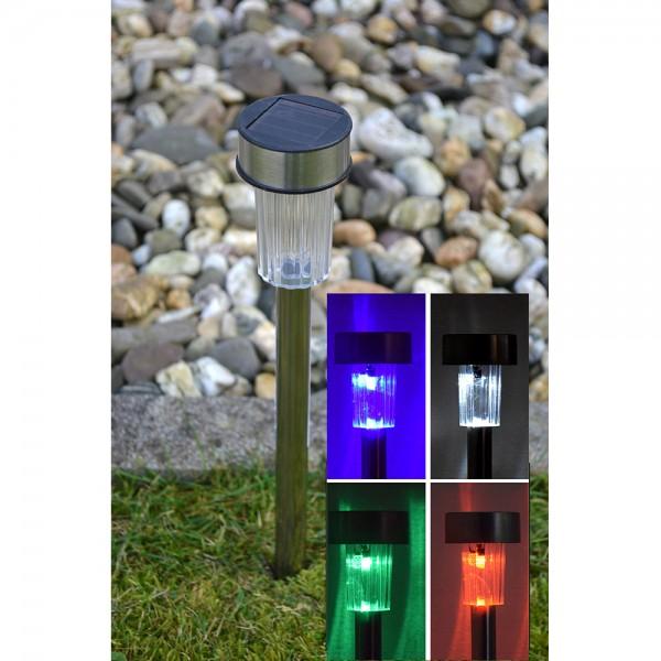 12er Set Solar LED Gartenlampe mit Farbwechsel Wegleuchte RGB Stick 22cm
