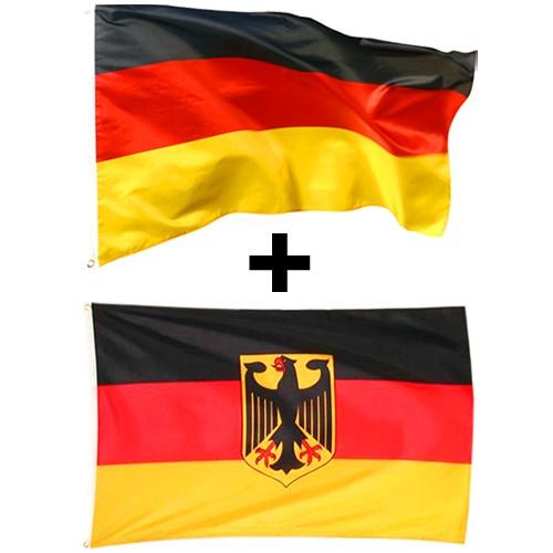 2er Set Deutschland Flagge 90 x 150 cm Deutschlandfahne & Deutschlandfahne mit Adler