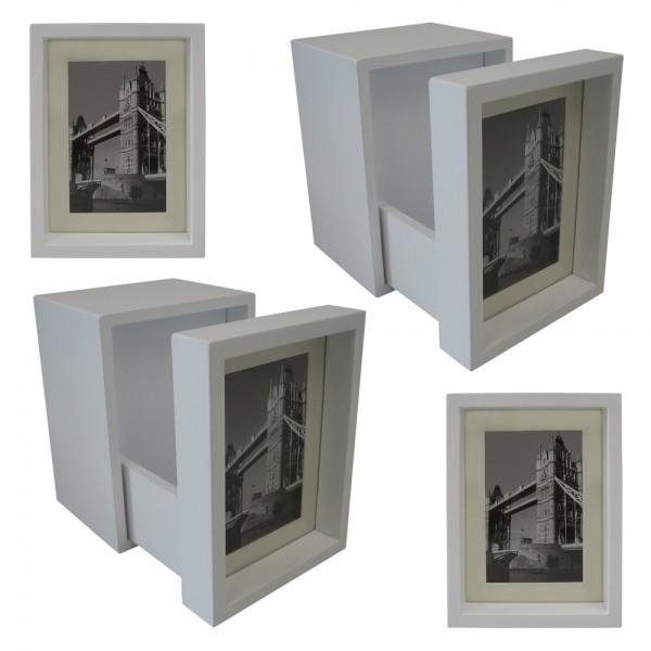 2er Set Buchstützen mit Bilderrahmen 15x15x20 cm Weiß