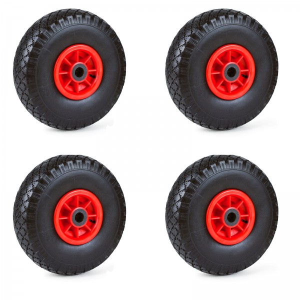 4er Set Grafner® Sackkarren/Bollerwagenrad 4.10/3.50-4 PU Luftbereifung Kunststoff Felge