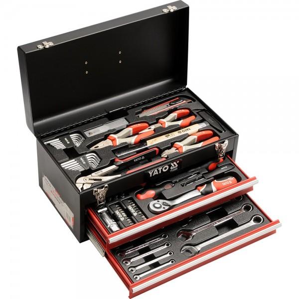 YATO Profi Werkzeugkasten Metall 80 teilig bestückt YT-38951 Werkzeugkoffer