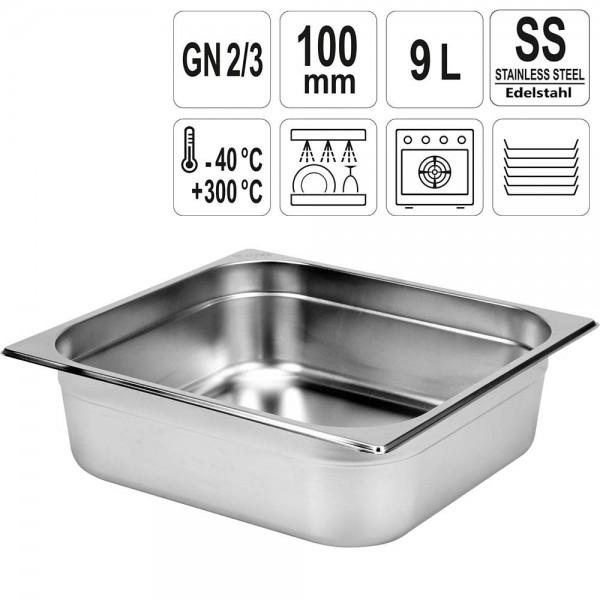 YATO Gastronorm Behälter Edelstahl 2/3 100mm