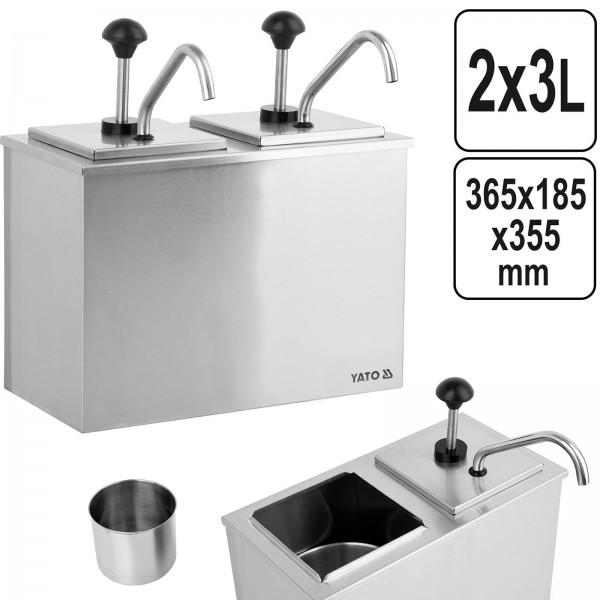 YATO Profi Edelstahl Saucen Spender YG-00558 2x3 Ltr. Doppel Dispenser