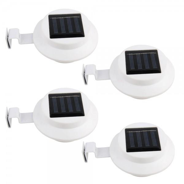 4er Set Grafner® Solar LED Dachrinnenleuchten in weiss Dachrinnenbeleuchtung