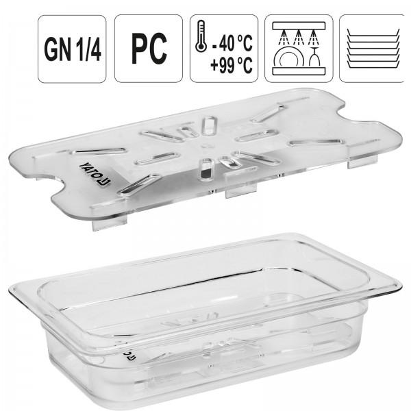 YATO Profi GN Gastronorm Abtropfgitter für Behälter Kunststoff 1/4