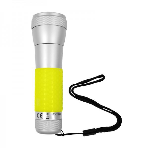 2 in 1 Aluminium Taschenlampe, Tischleuchte gelb mit Power LED