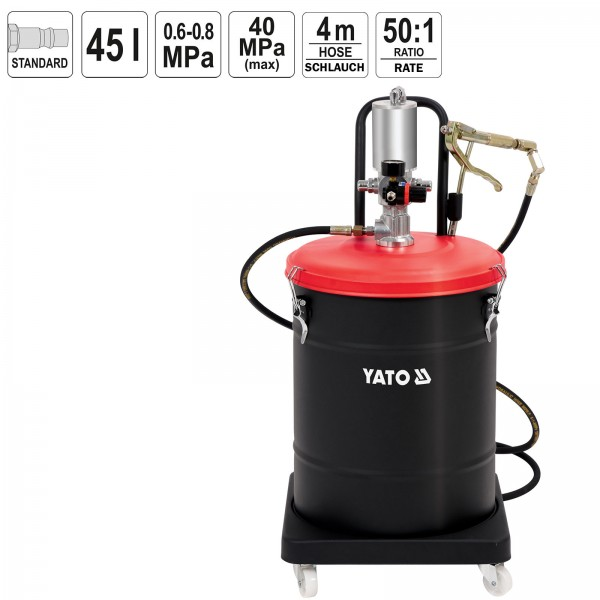 YATO Pneumatik Fettpresse 45 Liter 40 MPa YT-07069 Abschmierpresse Fahrbar