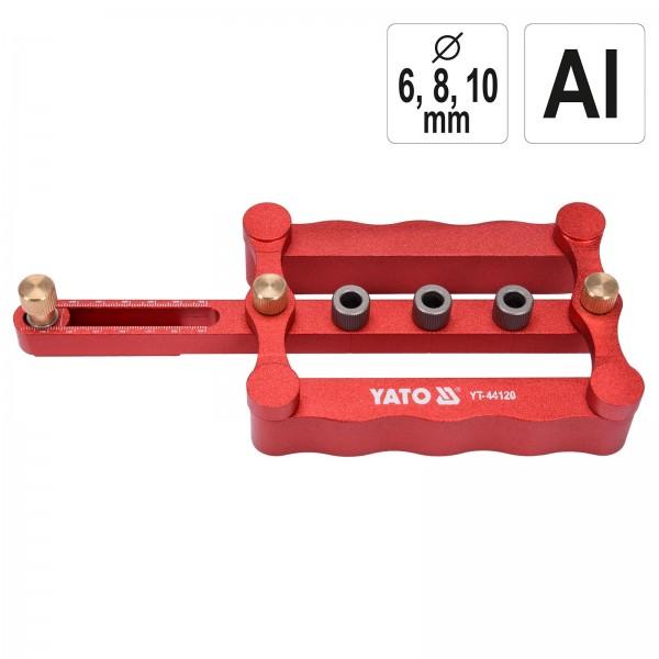 YATO Bohrschablone für Holz Dübel Arbeiten 6/8/10 mm