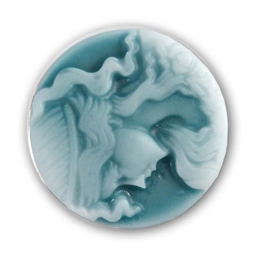Druckknopf für Chunks-Armband Struktur Frau Portrait Blau