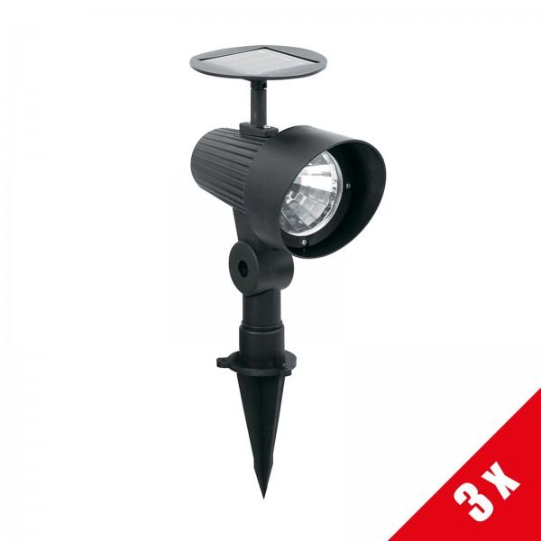3er Set Grafner® XXL Solar LED Pflanzenstrahler 32,5cm Solarstrahler mit Erdspieß