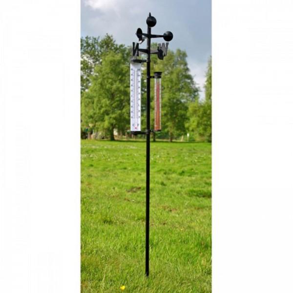 Wetterstation mit Thermometer, Windrichtungsanzeiger, Niederschlagsmesser