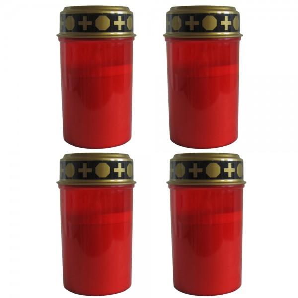 4er Set LED Grablichter Ø ca. 6,5 cm x 12 cm Rot