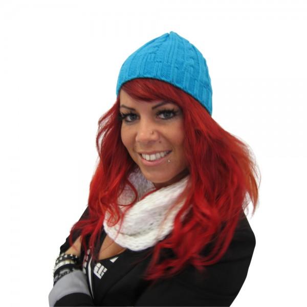 Mütze Acryl Muster Blau