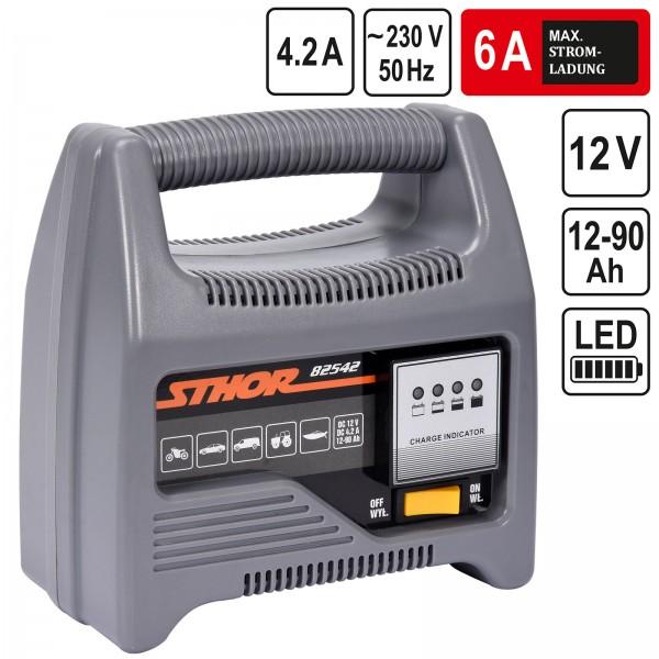 Sthor 12V Batterieladegerät Automatik Batterielader 6A 90Ah