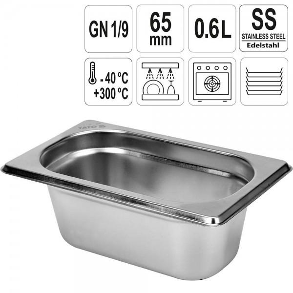 YATO Gastronorm Behälter Edelstahl 1/9 65mm