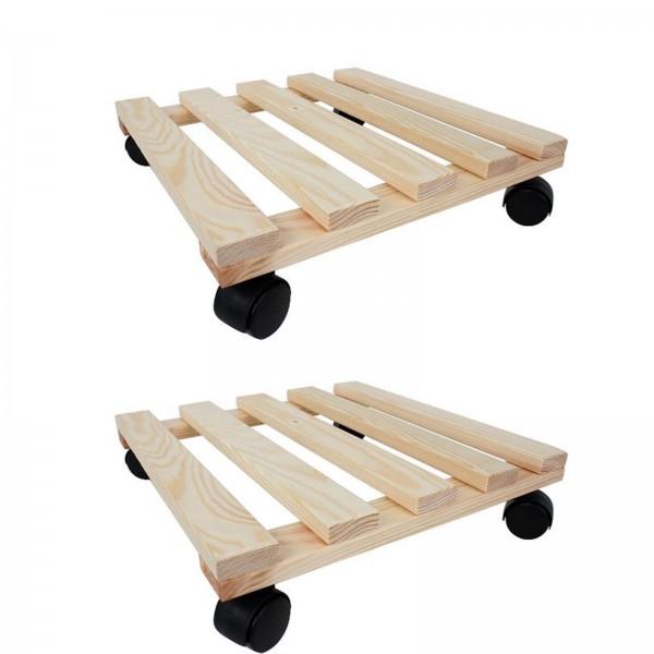 2er Set Pflanzenroller eckig aus Holz bis 100 Kg belastbar