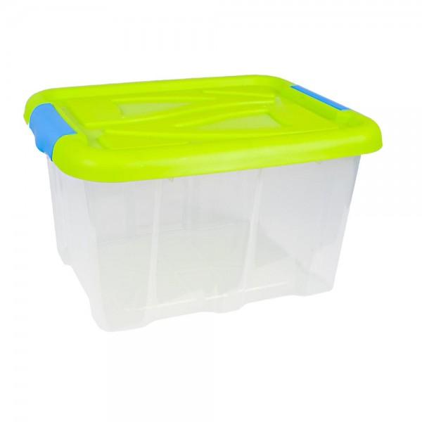 Stapelbox 30 Liter mit Deckel grün Aufbewahrungsbox stapelbar Kunststoffkisten
