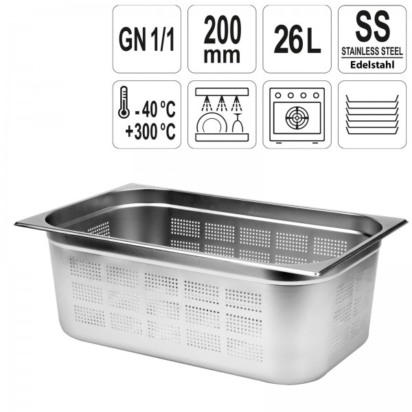 YATO Profi GN Gastronorm Behälter Edelstahl gelocht 1/1 200mm
