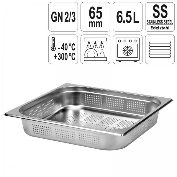 YATO Profi GN Gastronorm Behälter Edelstahl gelocht 2/3 65mm