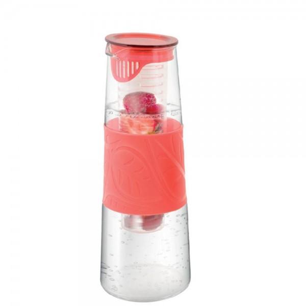 Glaskaraffe mit Fruchteinsatz rot
