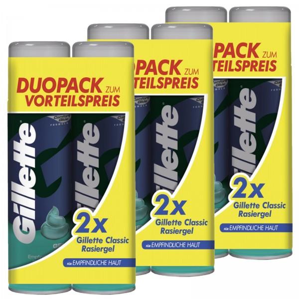 Gillette Rasiergel Sensitive Skin Duopack 6x 200ml Für das Beste im Mann zum Vorteilspreis