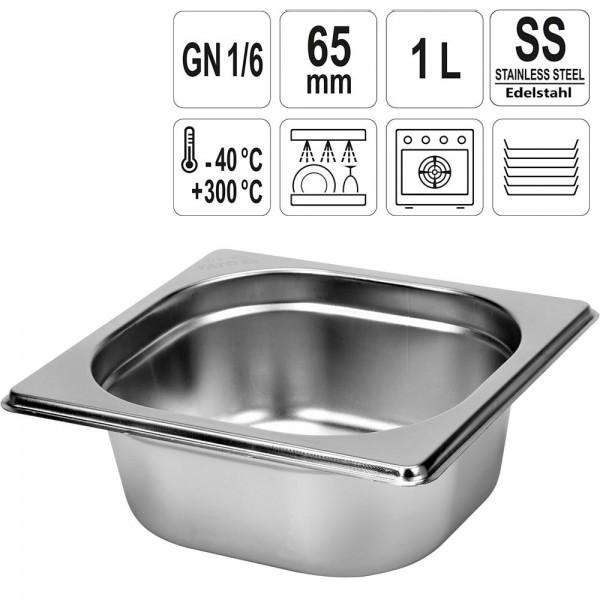 YATO Gastronorm Behälter Edelstahl 1/6 65mm