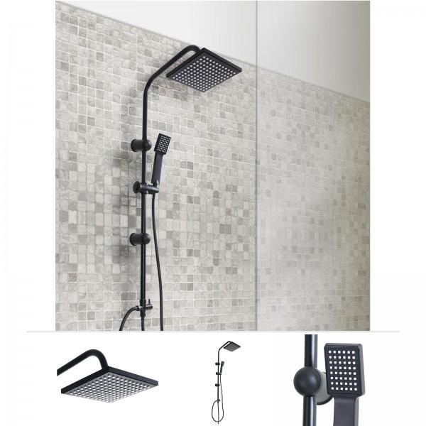 Grafner® Duschgarnitur mit Regenschauerduschkopf und Handbrause Duschsäule Schwarz