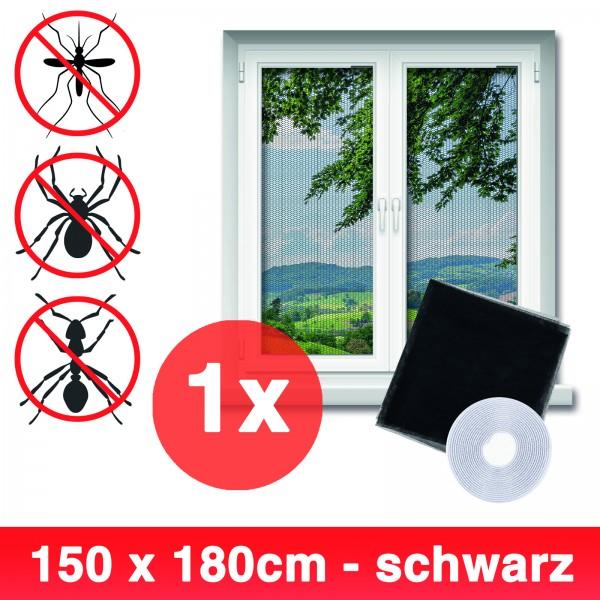 Grafner® Insektenschutz Fliegengitter Fenster 150x180cm mit Klettband IS10905 schwarz