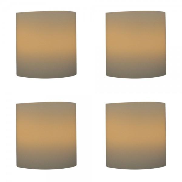 4er Vorteilspack LED Echtwachskerzen inkl. Batterie Ø 5cm Höhe 7,5cm perfekt für Ihren Adventskranz