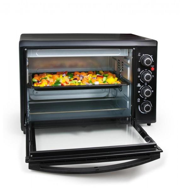 Grafner® Mini - Ofen Heissluftofen 40 Liter 2000 Watt mit Drehspieß Mini Backofen Pizzaofen