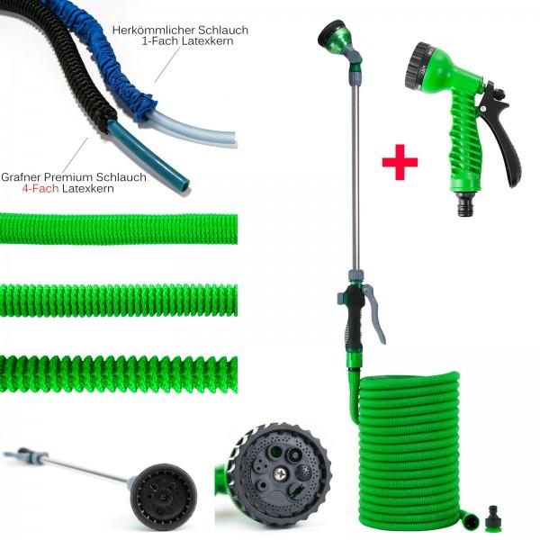 Grafner® 30m Premium Flexibler Gartenschlauch inkl. Gießstab und Handbrause