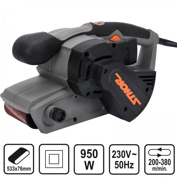 Sthor Elektro Bandschleifer 950 Watt Bandschleifmaschine mit Staubfangbehälter