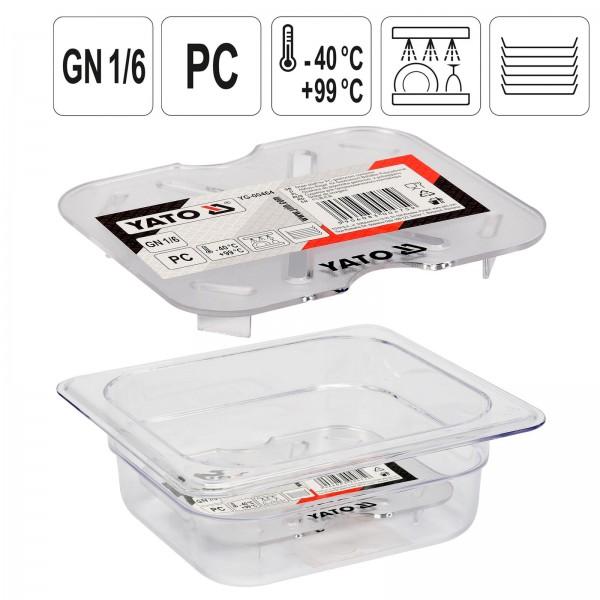 YATO Profi GN Gastronorm Abtropfgitter für Behälter Kunststoff 1/6