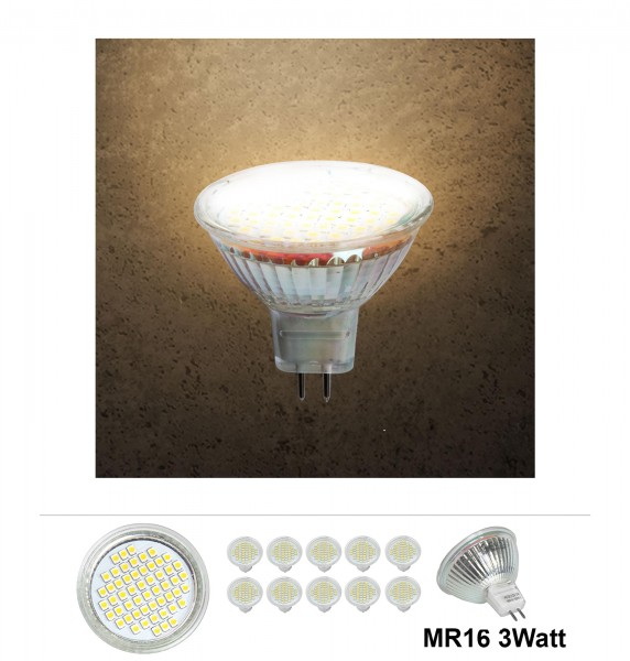 20x Grafner® LED Leuchtmittel MR16 3 Watt 3000K Warmweiss
