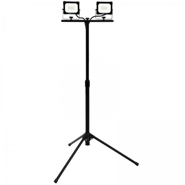 YATO Profi Doppel-Baustrahler mit Stativ | SMD-LED | 2x 20 Watt | 2x 1800 lm | IP65 | Teleskop | YT-81815
