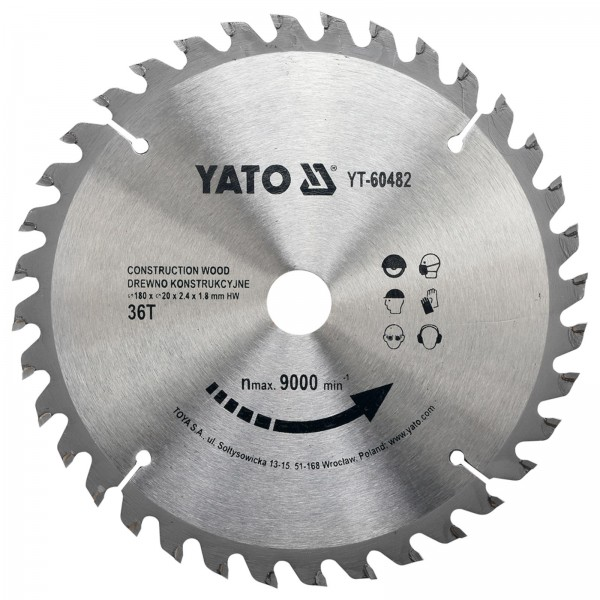 YATO Profi HM Kreissägeblatt für Bauholz nagelfest 180x20mm 36T YT-60482