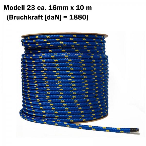 Polypropylenseil schwimmfähig 16mm x 10m blau-gelb
