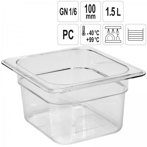 YATO Profi GN Gastronorm Behälter Kunststoff 1/6 100mm