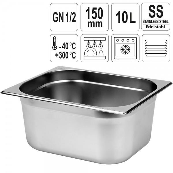 YATO Gastronorm Behälter Edelstahl 1/2 150mm