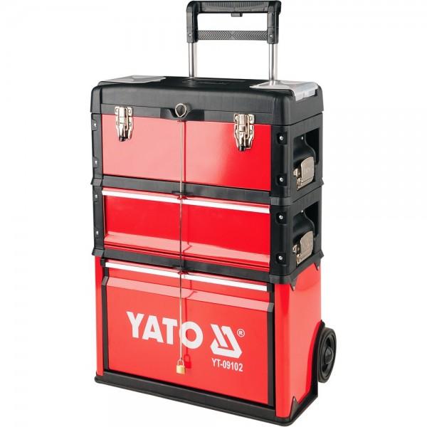 YATO Profi Werkzeugtrolley mit 3 Modulen YT-09102 Werkzeugkasten mobiler Werkzeugkoffer