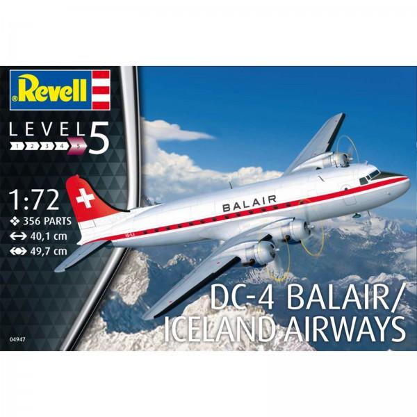 Revell Modellbausatz Boeing DC-4 Balair Iceland Airways Modellflugzeug Maßstab 1:72 04947