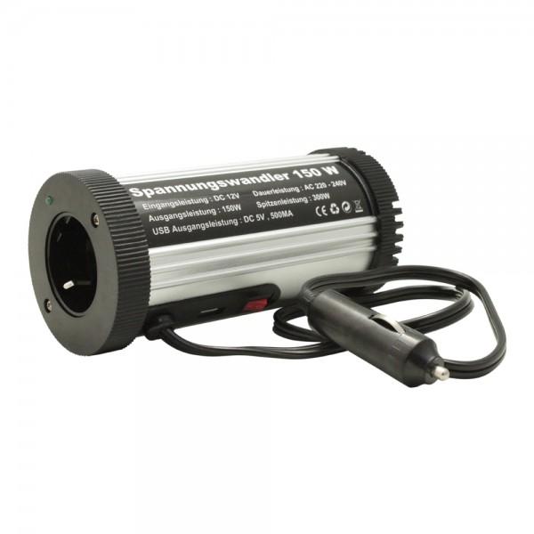 Kfz Spannungswandler 150W/300W für Dosenhalter mit USB und Steckdose