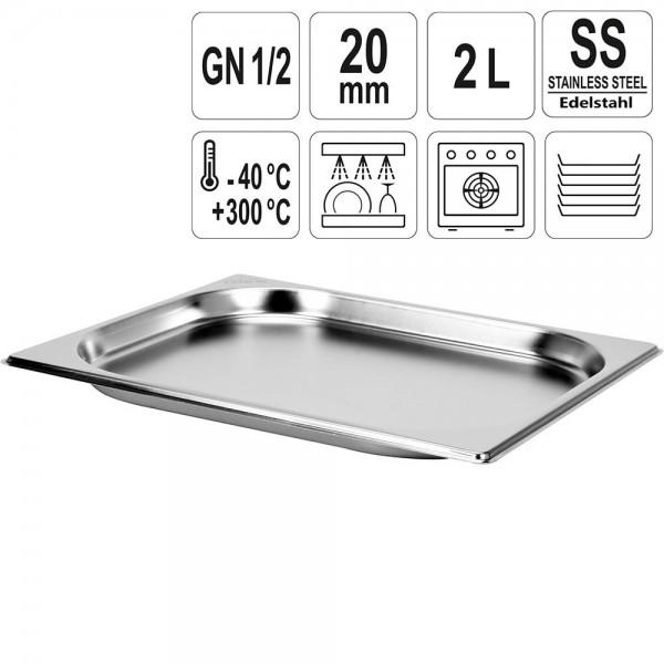 YATO Gastronorm Behälter Edelstahl 1/2 20mm