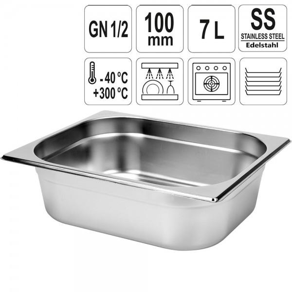 YATO Gastronorm Behälter Edelstahl 1/2 100mm
