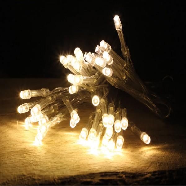 48er LED Lichterkette mit Timer batteriebetrieben Warmweiß