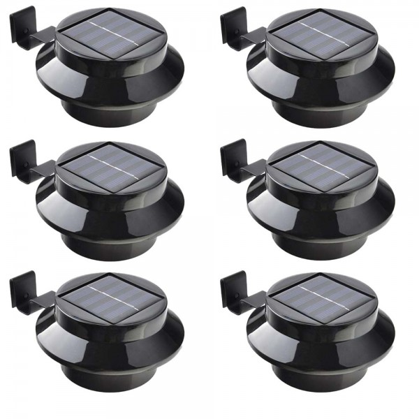 6er Set Grafner® Solar LED Dachrinnenleuchten in schwarz Dachrinnenbeleuchtung