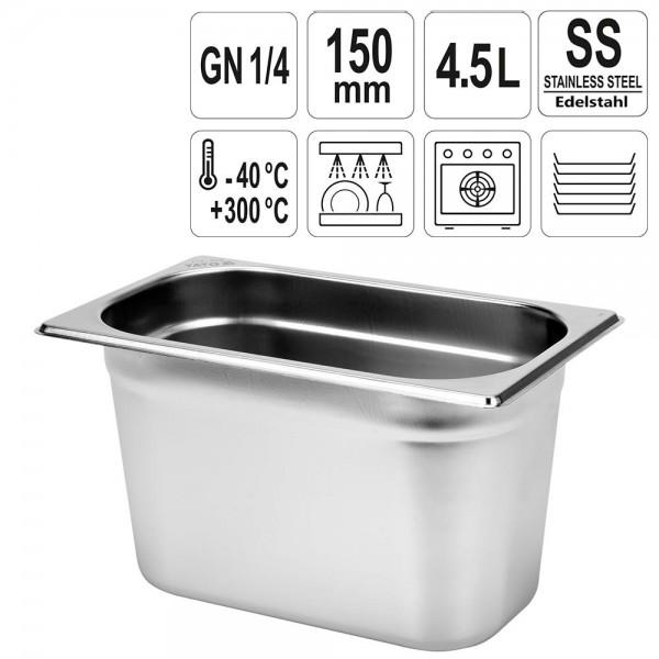 YATO Gastronorm Behälter Edelstahl 1/4 150mm