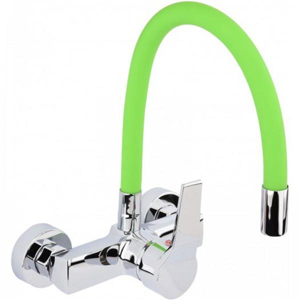 FALA Profi Wand-Einhebel-Küchenarmatur flexibel grün 75674