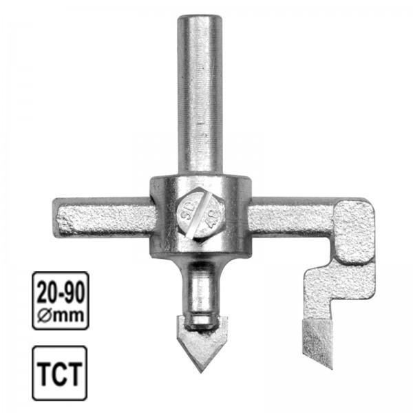 Vorel Fliesenlochbohrer Hartmetall 20-90mm mit Feststellschraube