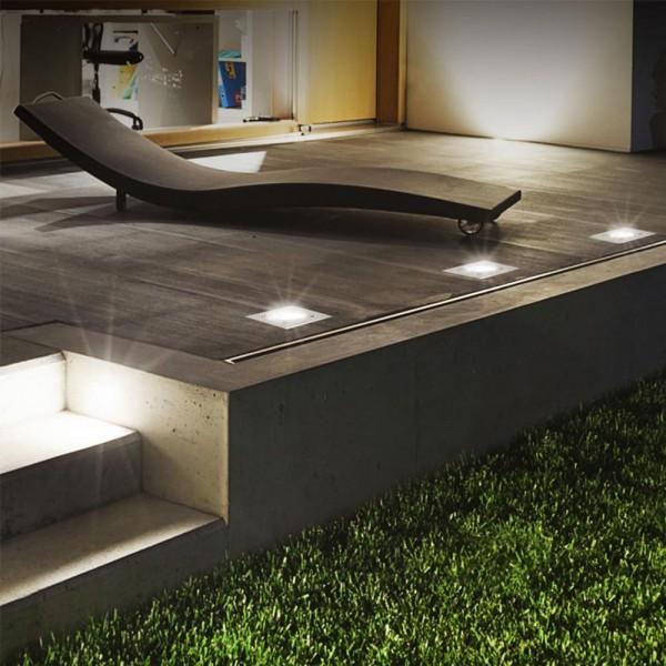 4er Set Grafner® Solar LED Bodenstrahler eckig Bodenleuchte Einbaustrahler